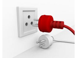 Red And White Plugs With Socket Showing Teamwork Stock Photo