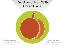 Red Apricot Icon With Green Circle