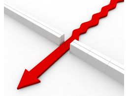 Red Arrow Breaking Wall Showing Winning Approach Stock Photo