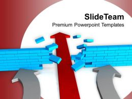 Red Arrow Breaking Wall Solution Concept PowerPoint Templates PPT Themes And Graphics 0213