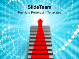 Red Arrow Going Up On Stairs Powerpoint Templates PPT Themes And Graphics 0113