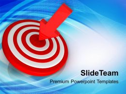 Red Arrow Hitting On Target Powerpoint Templates Ppt Backgrounds For Slides 0213