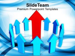 red arrow leader of blue arrows powerpoint templates ppt themes and graphics 0213