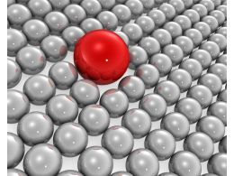 Red Ball As Leader With Silver Balls Background Photo