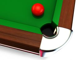 Red Ball On Billiard Table Stock Photo