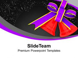 Red Bells With Purple Bow Christmas PowerPoint Templates PPT Themes And Graphics