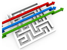 Red Blue And Green Arrows Crossing Over The Maze Progress Stock Photo