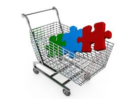 Red Blue Green Puzzle In Shopping Cart Showing Marketing Stock Photo