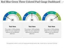 Red Blue Green Three Colored Fuel Gauge Dashboard