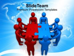 red blue two teams holding puzzle powerpoint templates ppt themes and graphics 0213
