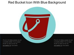 Red Bucket Icon With Blue Background