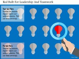 Red Bulb For Leadership And Teamwork Flat Powerpoint Design