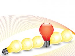 Red Bulb Standing Among Yellow Bulbs Showing Idea Generation Stock Photo