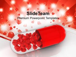 Red Capsule With Red Hearts Powerpoint Templates Ppt Backgrounds For Slides 0213