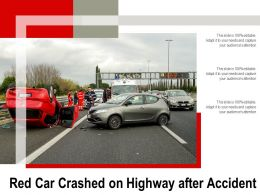 Red Car Crashed On Highway After Accident