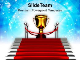 Red Carpet Stairway To Trophy Success Powerpoint Templates PPT Themes And Graphics 0113