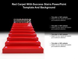 Red Carpet With Success Stairs Powerpoint Template And Background