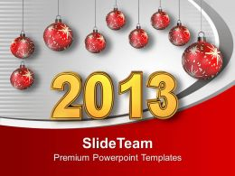 Red Christmas Balls With New Year Festival Powerpoint Templates Ppt Themes And Graphics 0113