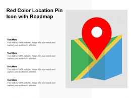 Red Color Location Pin Icon With Roadmap