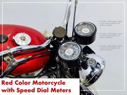Red Color Motorcycle With Speed Dial Meters