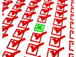 Red Colored Checklist With One Green Cross Stock Photo