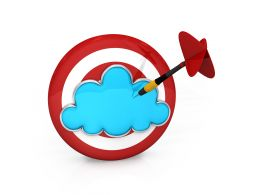 Red Colored Dart With Blue Cloud And Arrow Stock Photo