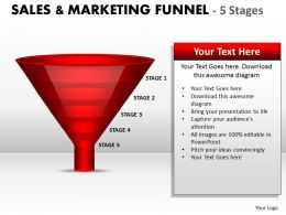 Red Colored Sales Marketing Funnel Diagram