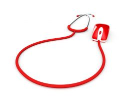 Red Colored Stethoscope Connected Mouse Depicting Online Medical Concept Stock Photo