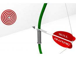 Red Colored Target Dart With Arrow Of Skill And Training Stock Photo