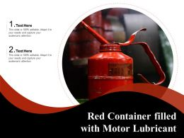Red Container Filled With Motor Lubricant