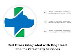 Red Cross Integrated With Dog Head Icon For Veterinary Services