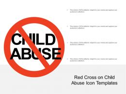 Red Cross On Child Abuse Icon Template