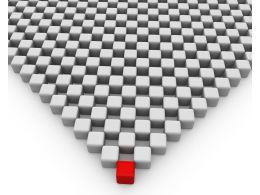 Red Cube On Triangle Of Cubes Leadership Stock Photo