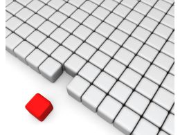 Red Cube With Multiple White Cubes Shows Leadership Stock Photo