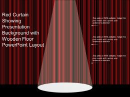 Red Curtain Showing Presentation Background With Wooden Floor Powerpoint Layout