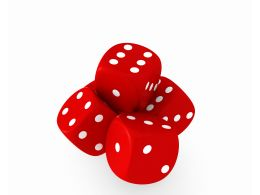 Red Dices With White Dotes Showing Concept Of Play Games Stock Photo