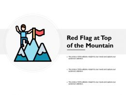 Red Flag At Top Of The Mountain