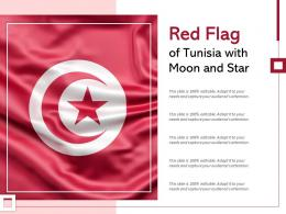 Red Flag Of Tunisia With Moon And Star