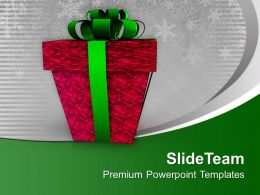 Red Gift Box Wrapped With Green Ribbon PowerPoint Templates PPT Backgrounds For Slides 0113