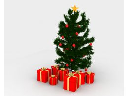 Red Gift Boxes In Front Of Christmas Tree Stock Photo
