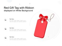 Red Gift Tag With Ribbon Displayed On White Background