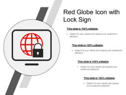 Red Globe Icon With Lock Sign
