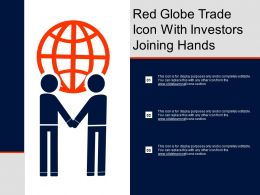 Red Globe Trade Icon With Investors Joining Hands