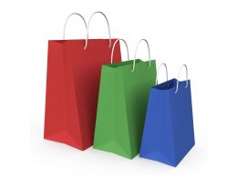Red Green And Blue Colored Shopping Bags Stock Photo