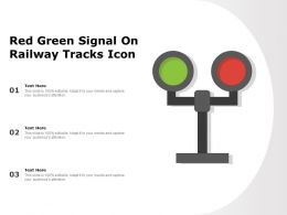 Red Green Signal On Railway Tracks Icon