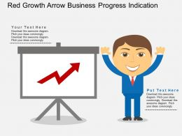 Red Growth Arrow Business Progress Indication Flat Powerpoint Design