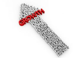 Red Growth Word On Upward Arrow Showing Business Growth Stock Photo