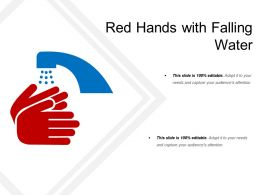 Red Hands With Falling Water