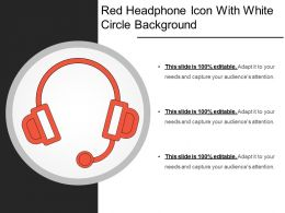 Red Headphone Icon With White Circle Background
