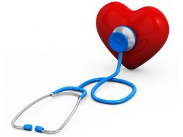 Red Heart With Blue Stethoscope Medical Check Up Stock Photo